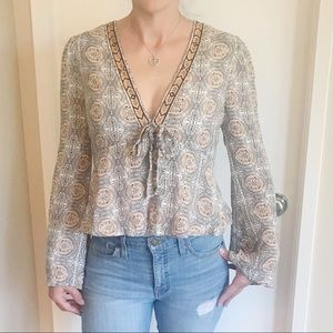Free People Tie Front Blouse
